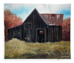 Autumn - Barn -orange Fleece Blanket