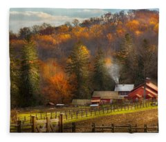 Autumn - Barn - The End Of A Season Fleece Blanket