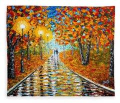 Autumn Beauty Original Palette Knife Painting Fleece Blanket