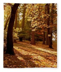 Autumn Country Lane Evening Fleece Blanket