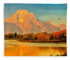 Autumn Dawn At Oxbow Bend Fleece Blanket