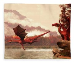 Autumn Dragons Fleece Blanket