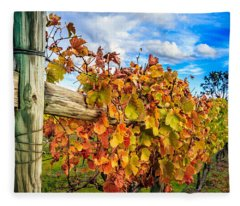 Autumn Falls At The Winery Fleece Blanket