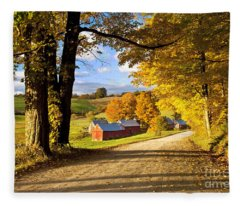 Autumn Farm In Vermont Fleece Blanket