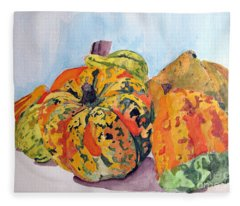 Autumn Gourds Fleece Blanket