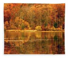 Autumn In Mirror Lake Fleece Blanket