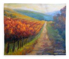 Autumn In The Vineyard Fleece Blanket