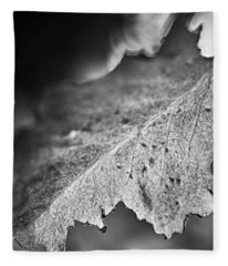 Autumn Leaves B And W Fleece Blanket