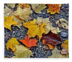 Autumn Leaves In Rain Fleece Blanket