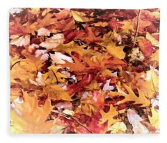 Autumn Leaves On The Ground In New Hampshire In Muted Colors Fleece Blanket