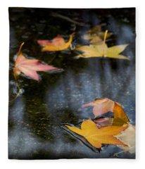 Autumn Leaves On Water Fleece Blanket