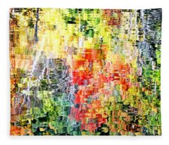 Autumn Leaves Reflected In Pond Surface Fleece Blanket