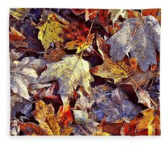 Autumn Leaves With Frost Fleece Blanket