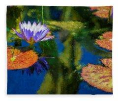 Autumn Lily Pad Impressions Fleece Blanket