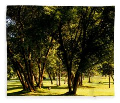 Autumn Morning Stroll Fleece Blanket