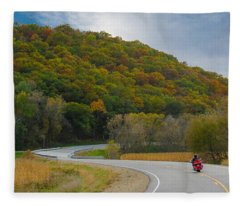 Autumn Motorcycle Rider / Orange Fleece Blanket