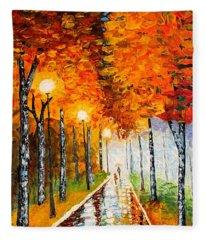 Autumn Park Night Lights Palette Knife Fleece Blanket