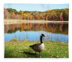 Autumn Pond Goose Fleece Blanket