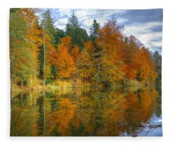 Autumn Reflection Fleece Blanket
