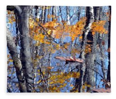 Autumn Reflection With Leaf Fleece Blanket