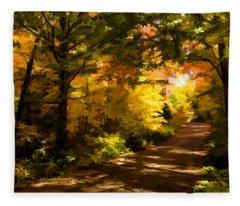 Autumn Road Impressions Fleece Blanket