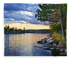 Autumn Sunset At Lake Fleece Blanket