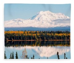 Autumn View Of Mt. Drum - Alaska Fleece Blanket