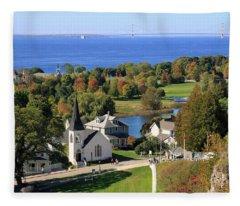 Autumn View On Mackinac Island Fleece Blanket
