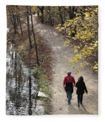 Autumn Walk On The C And O Canal Towpath Fleece Blanket