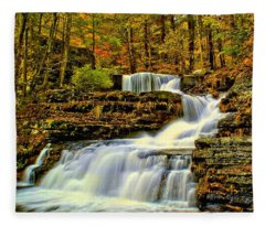 Autumn By The Waterfall Fleece Blanket