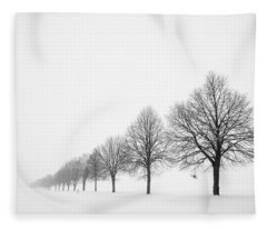 Avenue With Row Of Trees In Winter Fleece Blanket