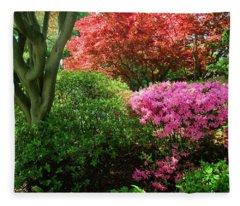 Azaleas In Spring In National Fleece Blanket
