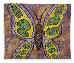 Fleece Blanket featuring the painting B Is For Butterfly by Darice Machel McGuire