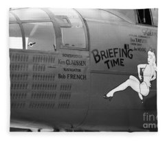 B25j Mitchell Briefing Time Bw Fleece Blanket