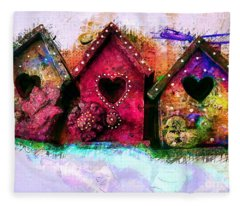 Baby Birdhouses Fleece Blanket