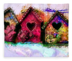 Baby Birdhouses Fleece Blanket