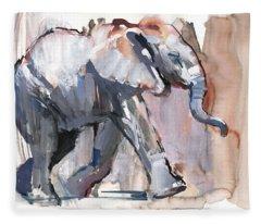 Baby Elephant, 2012 Mixed Media On Paper Fleece Blanket