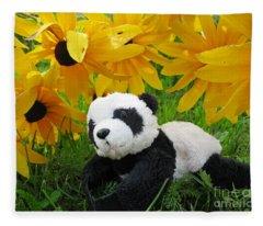 Baby Panda Under The Golden Sky Fleece Blanket