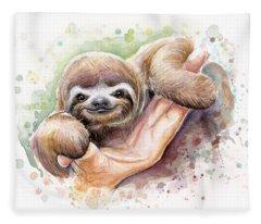 Baby Sloth Watercolor Fleece Blanket