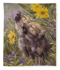 Baby Wolves Howling Fleece Blanket