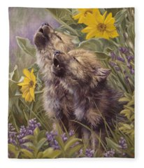 Baby Wolves Howling Fleece Blanket