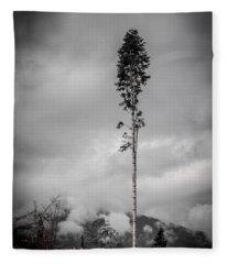 Lone Tree Landscape  Fleece Blanket