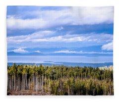Johnstone Strait High Elevation View Fleece Blanket