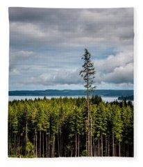 Logging Road Ocean View  Fleece Blanket
