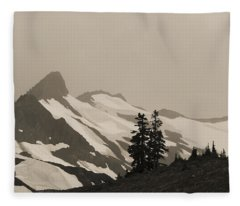 Fog In Mountains Fleece Blanket
