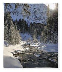 Baergunt Valley Kleinwalsertal Austria In Winter Fleece Blanket
