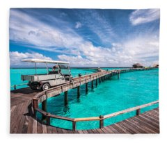 Baggy On The Jetty Over The Blue Lagoon Fleece Blanket