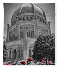 Bahai Temple Wilmette In Black And White Fleece Blanket