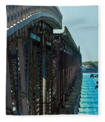 Bahia Honda Bridge Patterns Fleece Blanket