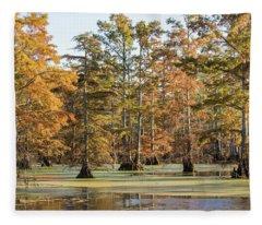 Bald Cypress Trees In Swamp, Horseshoe Fleece Blanket